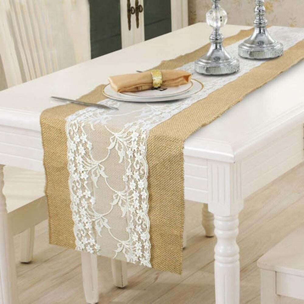 Hessian Burlap Table Runner Table Flag Wedding Wide Flower Lace Natural Rustic Retro Table Decoration Style:Burlap + white lace - intl