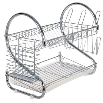 Home Kitchen S Shape Dual Layer Plate Bowel Cup Cutlery DishDrainer Dryer Drip Tray Storage Rack Holder Style 1