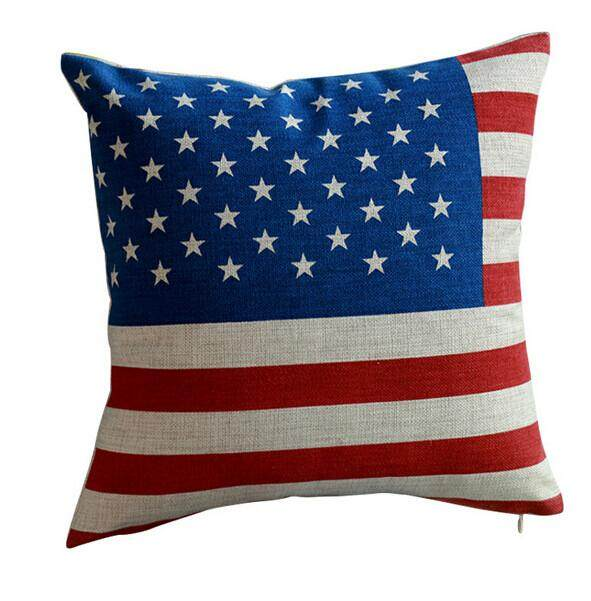 Jual Panas Amerika Serikat Bendera Inggris Antik Jacquard Dekoratif Pillowcases Linen Melempar Bantal-Internasional