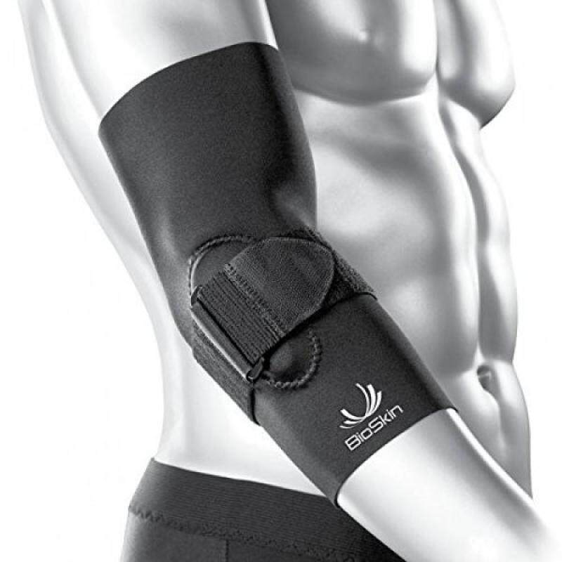 Hypoallergenic Elbow Compression Sleeve with Gel Pad and Supportive Strap for Pain Relief from Tennis Elbow and Golfers Elbow - By BioSkin