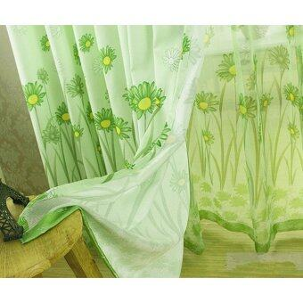 Harga Sunflower Printed Curtains Short Curtain Window Curtain Drape Panel Sheer Green-