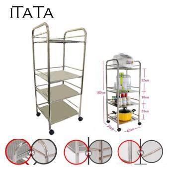 Harga iTaTa 40*35*100cm 4 Layer Stainless Steel Multipurpose Oven Storage Rack with Wheel