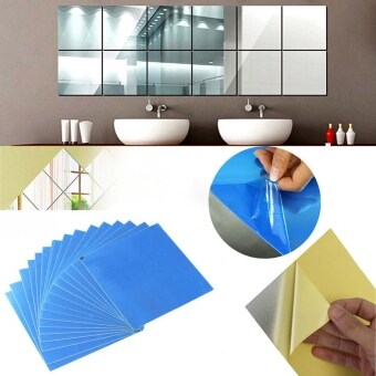 Harga JoIn New 16PCS Acrylic Square Mirror Wall Stickers 5.9 by 5.9inch 3D Removable Decal Home Wall DIY Decoration
