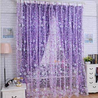 Harga Print Floral Voile Door Sheer Window Curtains Room Curtain Divider 100X200CM