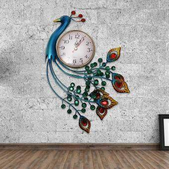 Harga 1 piece Creative wrought iron set auger peacock wall clock/ Bedroom mute quartz bracket clock/ European large size process clock with one piece mutifunction cable random color