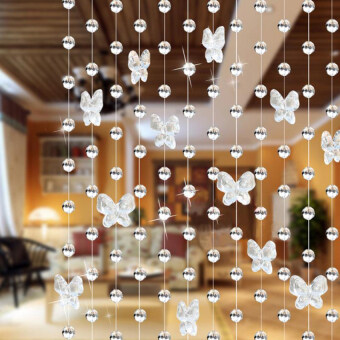 Harga Gracefulvara 3.3FT Crystal Butterfly Curtains Beads Window Door Curtain Passage Backdrop Wedding - Transparent