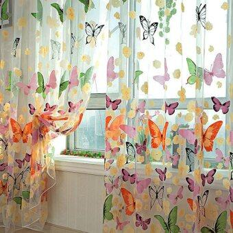 Harga 2PCS Floral Butterfly Sheer Curtains Sheers Voile Tulle Window Curtain (Size: 200x100cm, Color: Multicolor)