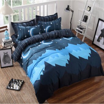 Harga New Design Duvet Sets & Quilt Cover Bedding With Pillow Cases Print sing queen king size 4 pieces –moon
