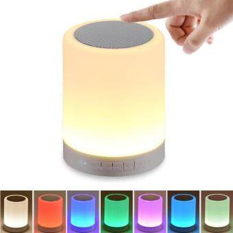 Harga Night Light with Bluetooth Speaker, Gogerstar Portable Wireless Bluetooth Speaker Touch Control Color LED Bedside Table Lamp(Dimmable 3 Level Warm White Light & 7-Color Changing), Speakerphone / TF Card / AUX-IN Supported (White)