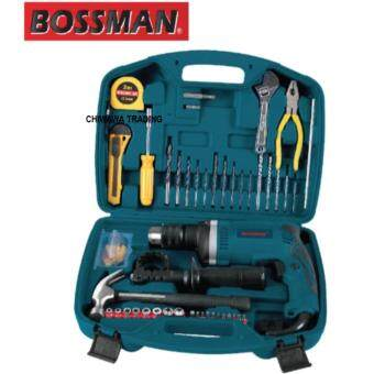 Harga BOSSMAN BHR1630 710-Watt 13mm Impact Drill with 72 accessories Tool Kit High Quality Power Tool (Blue)