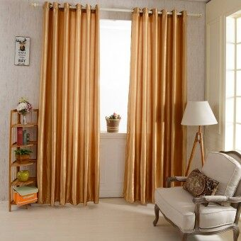 Harga 2PCS 1M*2.5M Grommet Blackout Curtain Linings Panel Solid Bright Colored Window Curtains (Coffee)