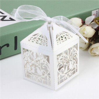 Harga HKS Ribbon Love Birds Laser Cut Wedding Favor Candy Box Gift Box Chocolate Box white color