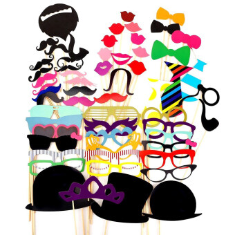 Harga Fang Fang Masks Photo Booth Props Mustache On A Stick Wedding Party Favor DIY 58 Pieces