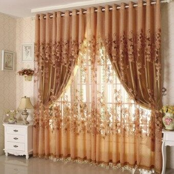 Harga 2PCS 1M*2M Morning Glory Pattern Half Shading Burnt-out Voile Curtain (Coffee)