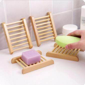 Harga NaVa Japanese Natural Bamboo 4 PCS Wooden Soap Dish Kitchen Utensil Holder