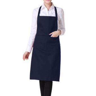 Harga Light Weight Polyester Kitchen Apron for Lady color:Dark Blue