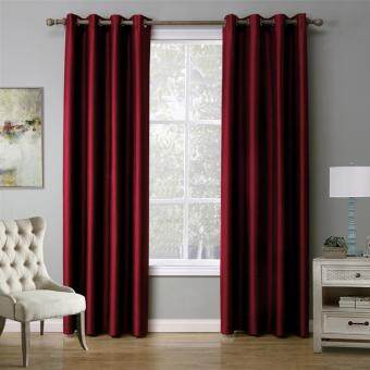 Harga Modern Solid color Dark Red Blackout Curtain Window Curtains for Living Room and Bedroom 140cmx220cm