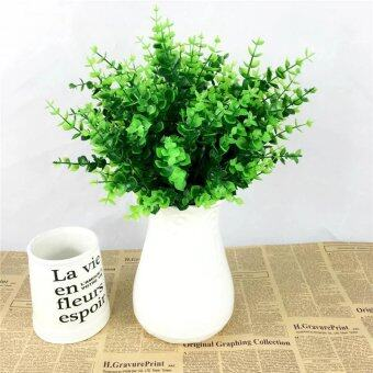Harga 1 Fake Plant Green Leaves Potted Plant Flowers Office Wedding Room Home Decor Plante artificial Plants for Decoration WA56945