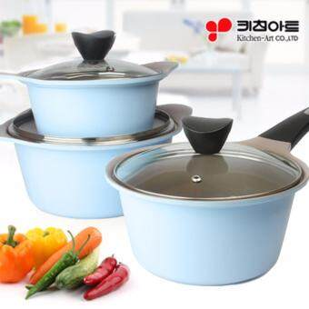 Harga [Kitchen Art] Juliet Ceramic 3-Pot Set(Blue) / 16cm +18cm +20cm Pot set / Made in Korea Cooking Pot / Frying pan / Wok