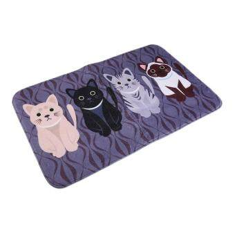 Harga USTORE Creative Kawaii Welcome Floor Mats Animal Cat Print Bathroom Kitchen Carpets Black