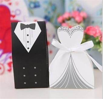 Harga 20pcs/LOT Tuxedo Dress Groom Bridal Party Wedding Favor Gift Ribbon Candy Boxes