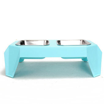 Harga New Pet Dog Cat Double Stainless Steel Bowl Dish Food Feeder Raised Stand Holder Light Blue