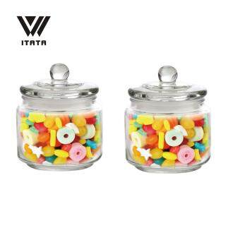 Harga [RAYA] (Set of 2) 8*8*7cm 300ml High Quality Candy Biscuits Glass Container