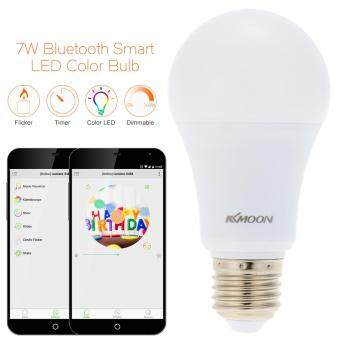 Harga KKmoon E26/E27 7W Bluetooth Smart LED Color Bulb Intelligent Light Lamp Android/IOS Phone APP Control Tomnet