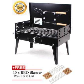 Harga Portable BBQ Grill Charcoal Barbecue Carry and Go Briefcase BBQ - Black + 10 Pcs BBQ Skewer