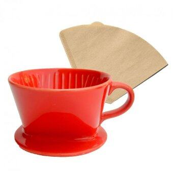 Harga Moonbuck Ceramic Coffee Filter Porcelain Hand-poured Coffee Filter [Red] + FREE 20 coffee paper filter & Coffee Powder