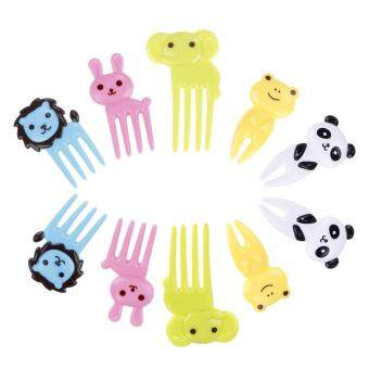 Harga BUYINCOINS 10pcs Bento Kawaii Animal Food Fruit Picks Forks Lunch Box Accessory Decor