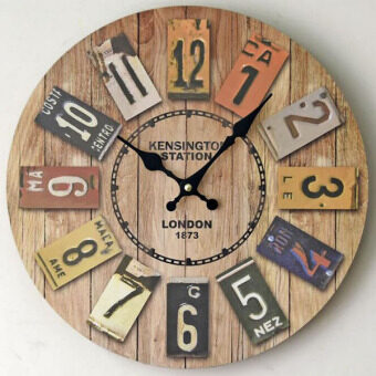 Harga Creative New Large Wooden Wall Clock Vintage Round Colourful Wood Wall Watches Home Kitchen Art Decor 35x35cm