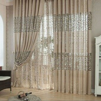 Harga 2PCS 1M*2M Tree Leaves Pattern Window Door Curtains Sheer Voile Tulle Curtain