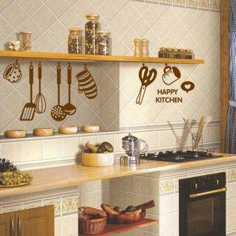 Harga happy kitchen letters cooking utensils home decor kitchen wall stickers diy mural art wallpaper
