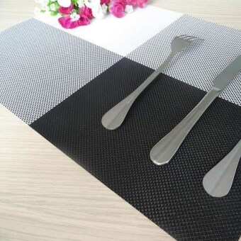 Harga 6pc Placemats Coasters Waterproof Insulation Mat Kitchen Dining Table (Black)