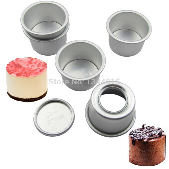 Harga 5pcs/lot 2inch(Dia 6cm) Aluminum Alloy Round Mini Cake Pan Removable Bottom Pudding Mold DIY Baking Kitchen Tools (Size: 2 inch)
