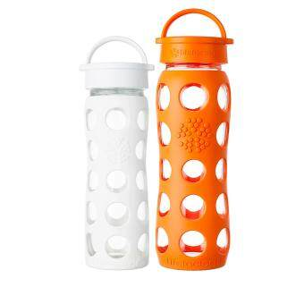 Harga Lifefactory Glass Bottle - Bundle - 16oz (465ml) Classic Cap (Optic White) & 22oz (650ml) Classic (Orange)
