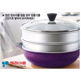 Harga Kitchen Art Korean Best-Selling 5 Ply Diamond Coating Smart Stir Wok 28 cm with Double Grips + 2 x Aluminum Steamers + Glass Cover Set.