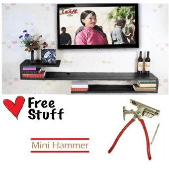 Harga (120cm x 24cm) S-Shape Wall Mounted TV Display Shelf (Black) With Free Mini Hammer