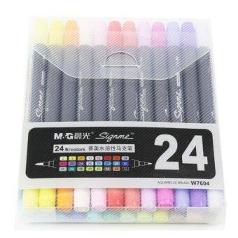 Harga Cheng Guang Art and Graphic Drawing Manga Water Based Ink Twin Tip Dual Nip Brush Sketch Marker Pen 24 Colors /SET
