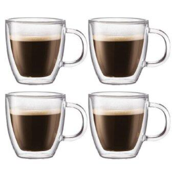 Harga Set of 4 High Quality Double Wall/ Layer Insulated Glass Mug with Handle.
