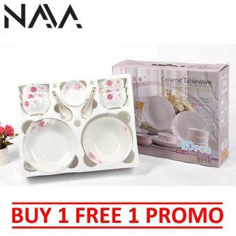 Harga [Buy1Free1] NaVa 20 PCS White Ceramic Flowerish Tableware Gift Set