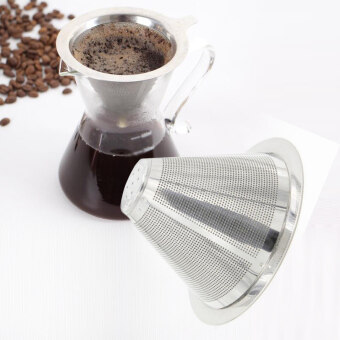 Harga Stainless Steel Coffee Filter Coffee Dripper Pour Over Coffee Maker Drip Reusable Efficient separation Coffee Filter