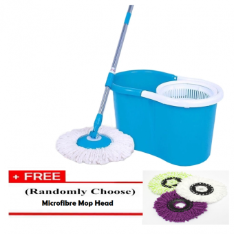 Harga Portable Spin Mop Cleaner with 2 Mop Heads [BLUE] + Free 1 pc. Replacement Mop Cloth