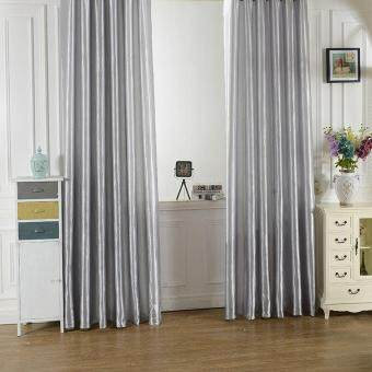 Harga New Rod Pocket Top Solid Color Satin Curtain Panel Window Curtains