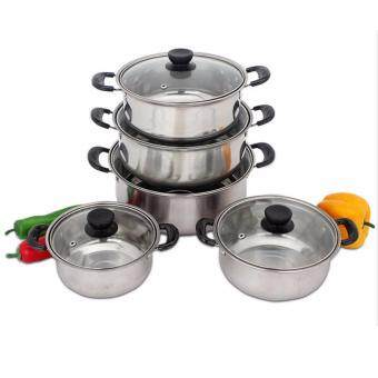 Harga NaVa 10 PCS Stainless Steel Cooking Pot Set (16CM - 24CM)