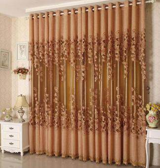 Harga BUYINCOINS Floral Morning Glory Brilliant Flower Tulle Curtain Beautiful House Decor Door Blackout Window Curtain with Beads