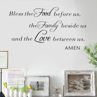 Harga Quote Bless Food Art Vinyl Decal Removable Wall Sticker Mural Home Kitchen Decor
