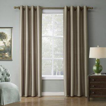 Harga 1 Set (2 Panels)Blackout Curtains Eyelet Grommet Curtains Energy-Saving Curtain Pair 140cm*260cm