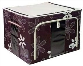 Harga 66L Large Oxford Cloth Dual Opening Foldable Spring Blossom Storage Box(Dark Brown)